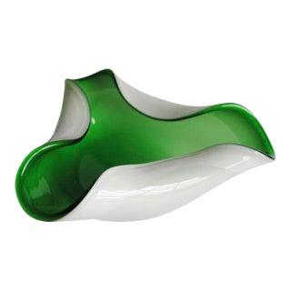 Vintage Green & White Murano Dish