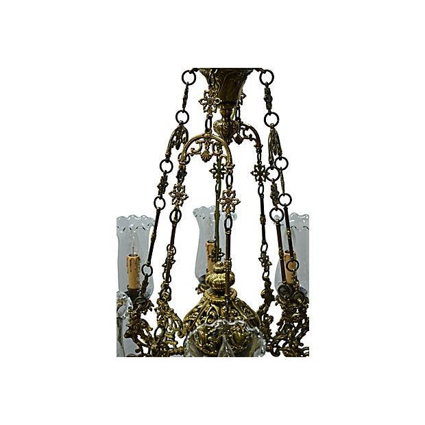 Antique Brass Chandelier 8 Lights W/Windshields - Image 6 of 7
