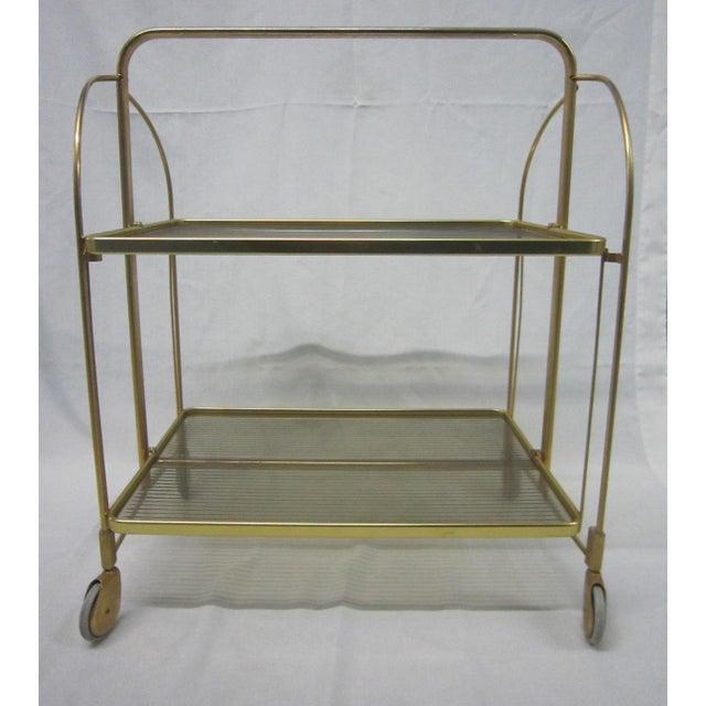 Gold Tone Folding Bar Cart - Image 4 of 5