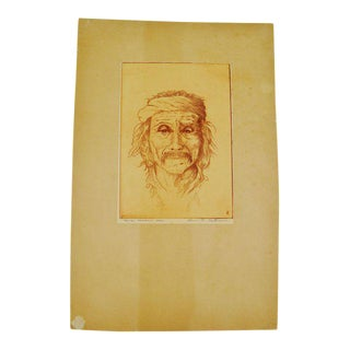 "Bruce H. Eastman Pencil Signed ""Navajo Medicine Man"" Native American Print"