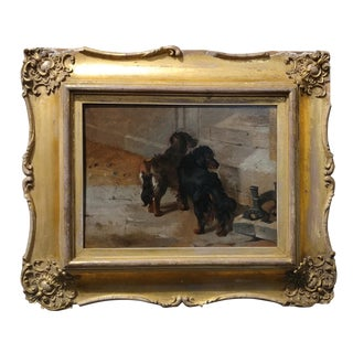 """19th Century John Emms """"Pair of English Spaniels Dogs"""" Oil Painting"""