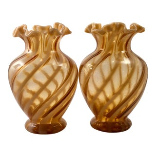 Fenton Vases With Cameo Opalescent Spiral Optic Pattern Late 1970s - a Pair