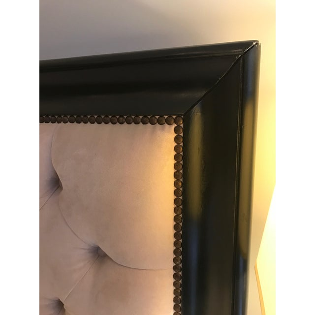 Z Gallerie Espresso Wood & Tufted Fabric King Sized Bed Frame - Image 3 of 8
