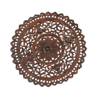 Dark Wax Carved Medallion Panel 24""