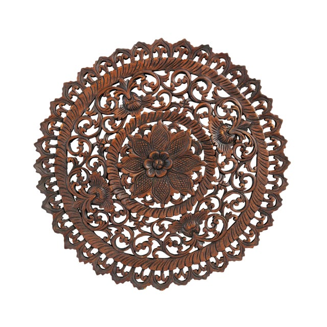 "Dark Wax Carved Medallion Panel 24"" - Image 1 of 2"