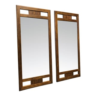 DREXEL HERITAGE Woodbriar Pecan Campaign Style Mirrors - Pair