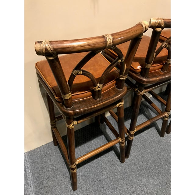 McGuire Leather Wrapped Rattan Bar Stools - Set of 3 - Image 7 of 11