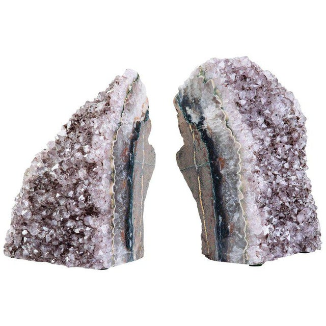 Pair of Organic Amethyst Crystal and Geode Bookends - Image 3 of 9