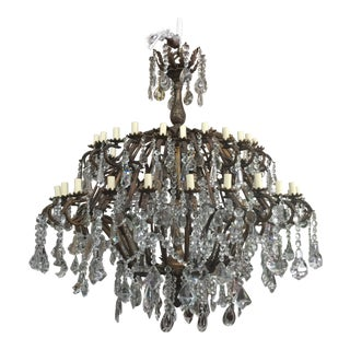 48-Light Bronze Colored Crystal Chandelier