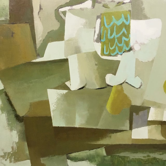 Mid-Century Green & Tan Cubist Oil Painting - Image 4 of 9