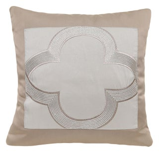 Beige Satin Clover Pillow