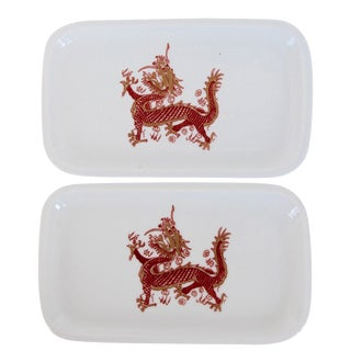 Porcelain Painted Dragon Trays - A Pair