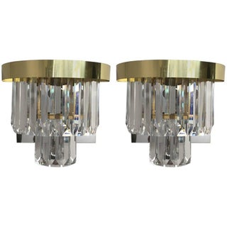 Brass and Lucite Wall Sconces - A Pair