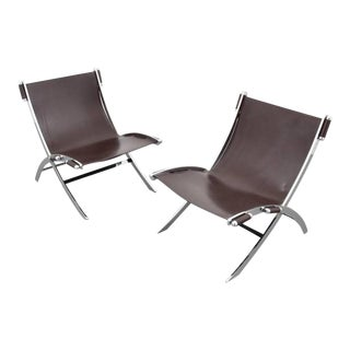 Pair of Paul Tuttle Chrome and Leather Lounge Chairs, 1960s