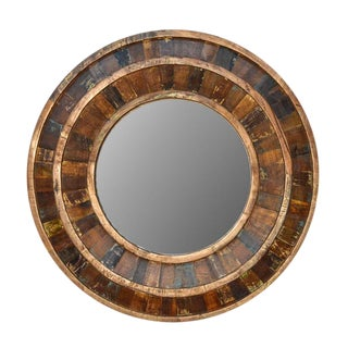 Rustic Reclaimed Round Wooden Mirror