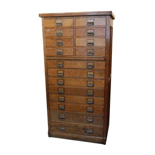 Antique 16-Drawer Oak File Cabinet