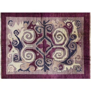 "Modern Signed Kaitag Hand Knotted Rug - 7' 8"" X 9' 10"""