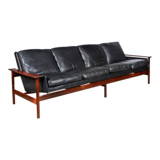 Mid Century Black Leather Sofa by Sven Ivar Dysthe