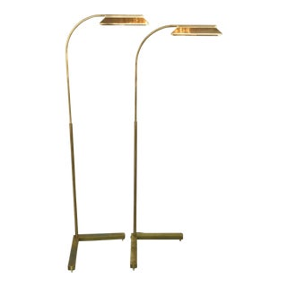 Casella Mid-Century Brass Floor Lights - A Pair