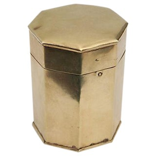 Octagonal Vintage Brass Hinged Storage Box
