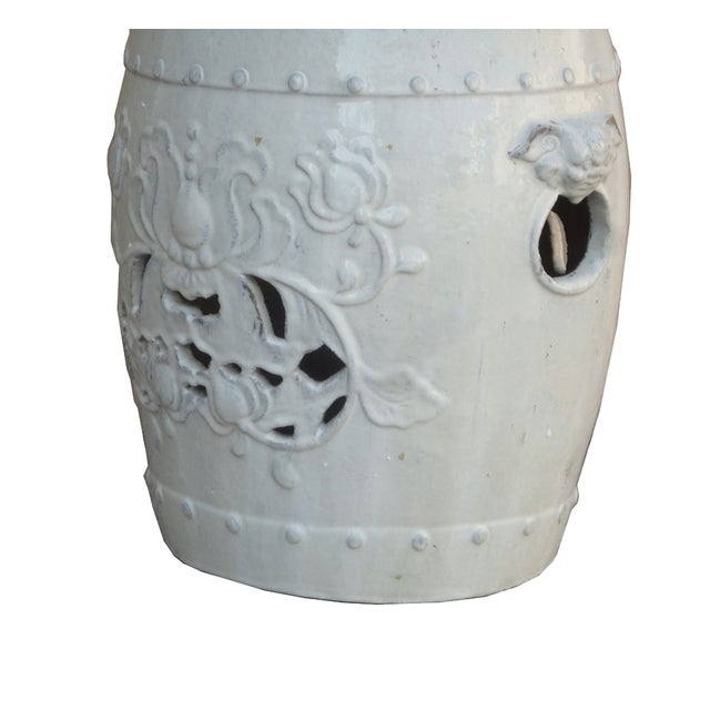 Chinese Clay White Lotus Garden Stool/Ottoman - Image 6 of 7