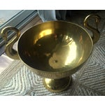 Image of Large Brass Trophy Cup With Swan Handles
