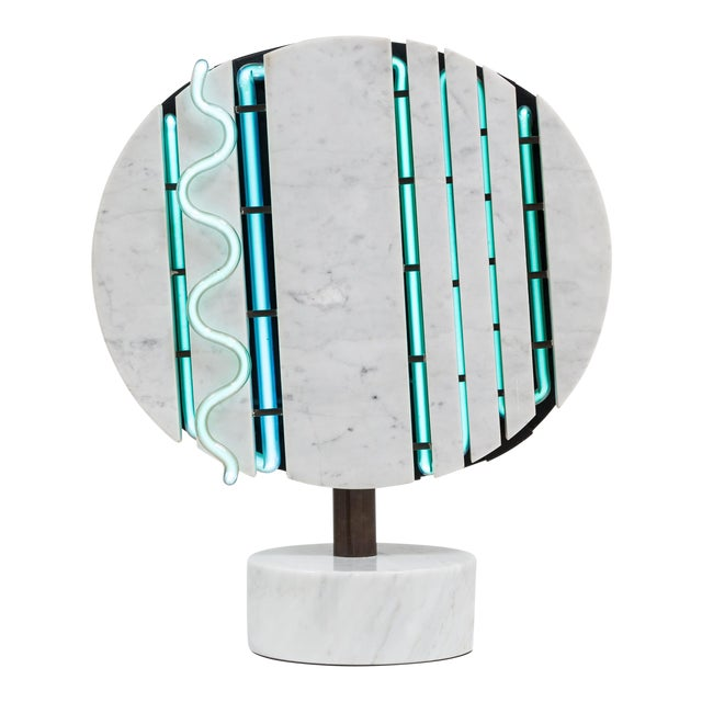 Image of A Marble and Neon Light Sculpture by Sylvia Jaffe 1970s