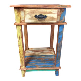 Antique Side Table - Eco-Friendly Reclaimed Solid Wood
