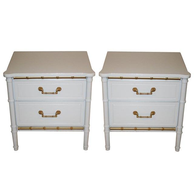 Henry Link White Faux Bamboo Nightstands - A Pair - Image 1 of 6