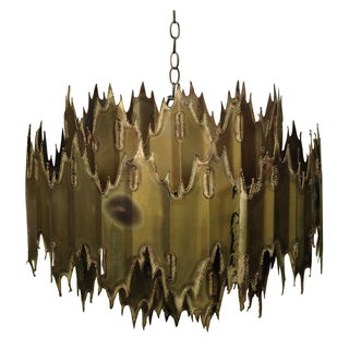 Torch Cut Brutalist Multi Tier Brass Chandelier