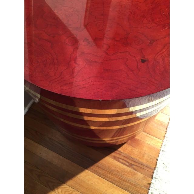 Hollywood Regency Red Burled Drum Tables - Pair - Image 3 of 7