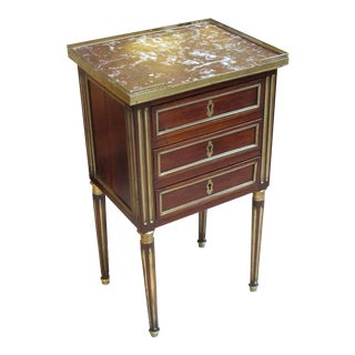 Good Quality French Louis XVI Mahogany Commode w/Marble Top & Gilt-Bronze Mounts