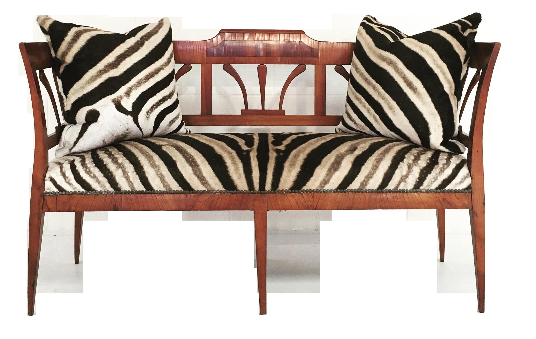 19th Century Fruitwood And Rosewood Zebra Settee Chairish