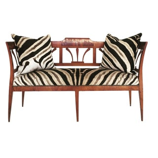 19th Century Fruitwood and Rosewood Zebra Settee