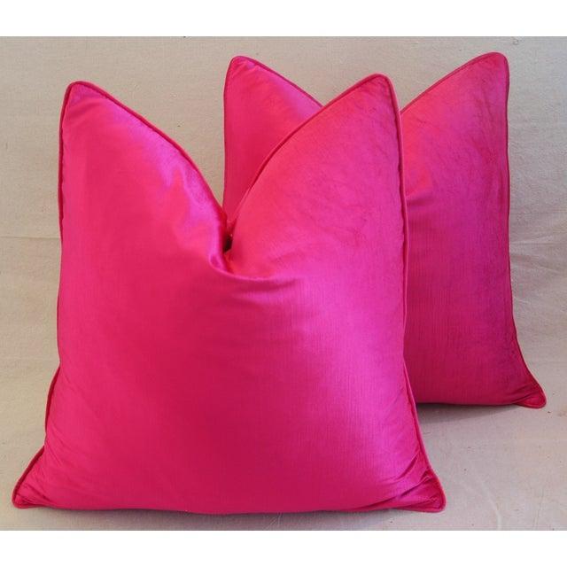 Custom Hot Fuchsia Pink Velvet Pillows - a Pair - Image 7 of 11