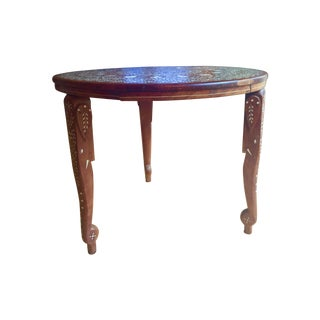 Eclectic Vintage Bone Inlay Elephant Accent Table
