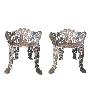 Antique Cast Iron Victorian Garden Chairs - a Pair