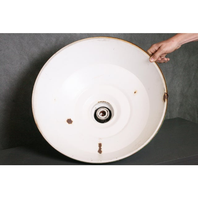 Vintage Industrial White Porcelain Ceiling Light Fixture - Image 9 of 11