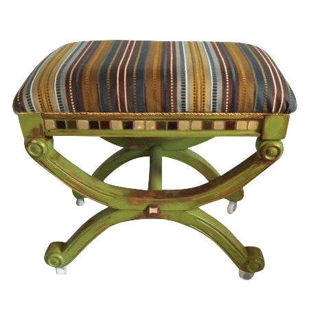 French Style Antique Multi-Textured Ottoman - Image 1 of 3