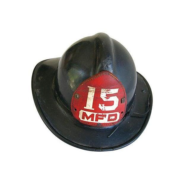 Original Leather Fireman Helmet w/Badge - Image 1 of 7