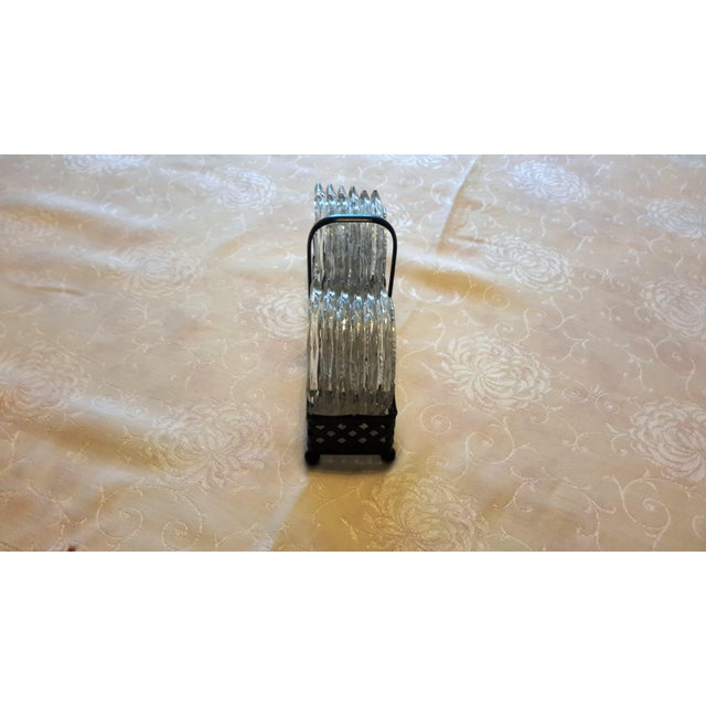 Mid-Century Cut Glass Coasters & Holder - Set of 12 - Image 4 of 5