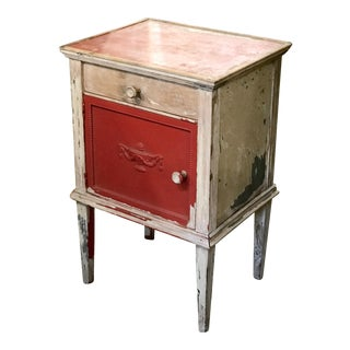 Rustic Antique White & Coral French Side Table