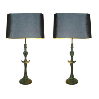 Pair of Verdigris Bronze Sculptural Table Lamps
