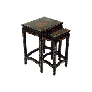 Asian-Style Black Side Tables - A Pair