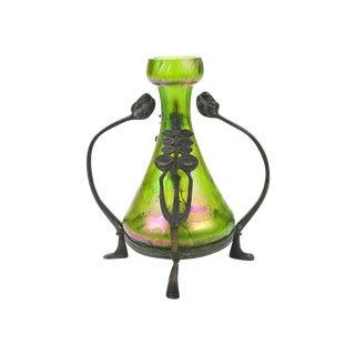 Pewter Mounted Loetz Glass Art Nouveau Green Vase