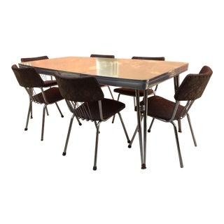 Mid-Century Modern Howell Chrome Dining Set With Table and 6 Chairs 1950s