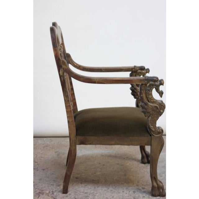 Image of Majestic Odd Fellows Carved and Painted Armchair