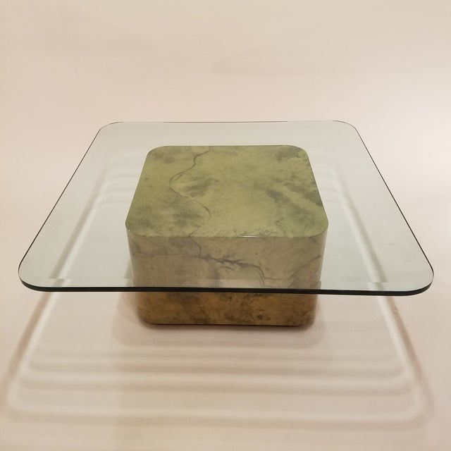 Karl Springer Style Green Parchment and Glass Coffee Table - Image 2 of 6