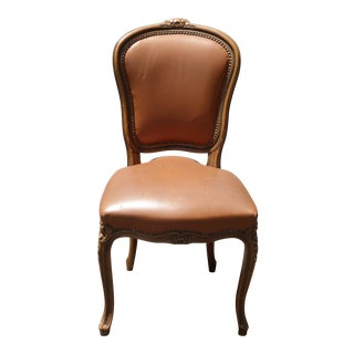 French Provincial Style Brown Leather Accent Chair