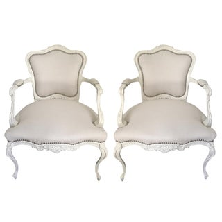 White Linen Louis-Style Armchairs - A Pair